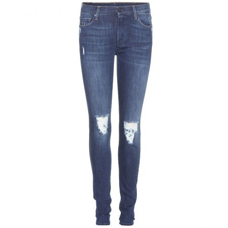 7 for all Mankind The Skinny Distressed Jeans blue