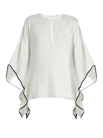 Adam Lippes Flared-sleeve crepe top