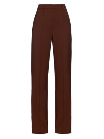 Adam Lippes High-waisted stretch wool-crepe trousers brown