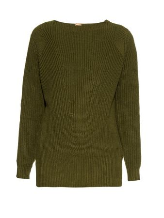 Adam Lippes Ribbed-knit cotton and cashmere-blend sweater green