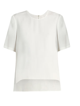 Adam Lippes Short-sleeved satin-crepe top