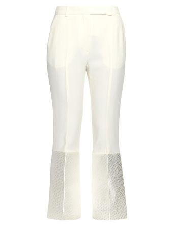 Alexander McQueen Contrast-jacquard leaf-crepe trousers