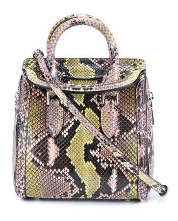 Alexander McQueen Mini Heroine Snakeskin Bag gray