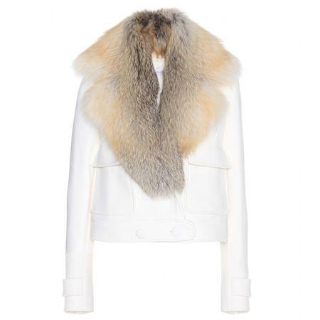 Altuzarra Fur-trimmed Wool Crepe Jacket white