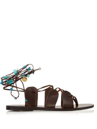 Ancient Greek Sandals Amaryllis Stones leather sandals brown