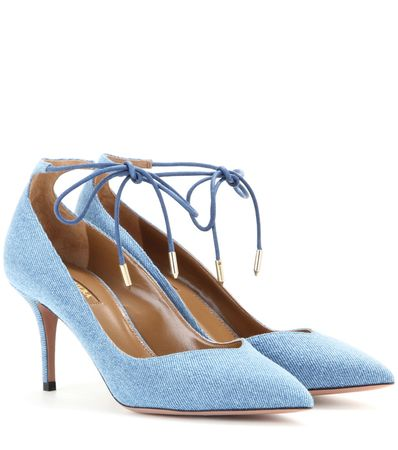 Aquazzura Allure 75 Denim Pumps blue