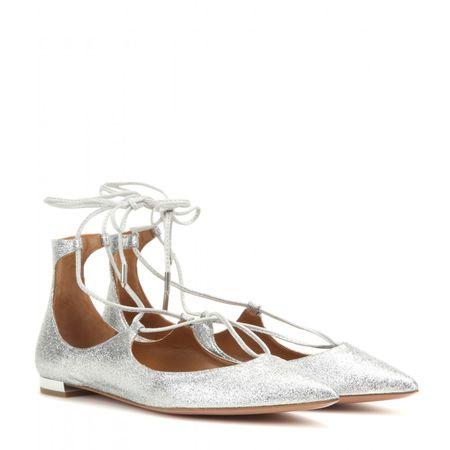 Aquazzura Christy Flat Glittered Leather Ballerinas gray