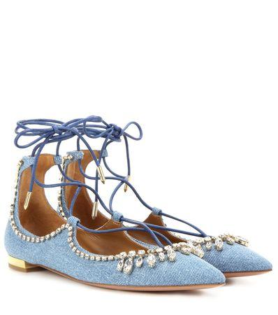 Aquazzura Christy Jewel Denim Crystal-embellished Ballerinas gray