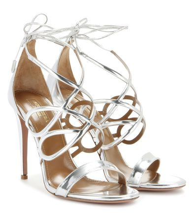Aquazzura Gigi 105 Metallic Leather Sandals gray