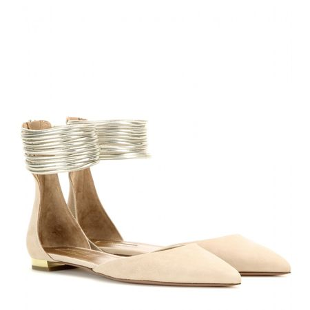 Aquazzura Hello Lover Suede And Metallic Leather Ballerinas beige