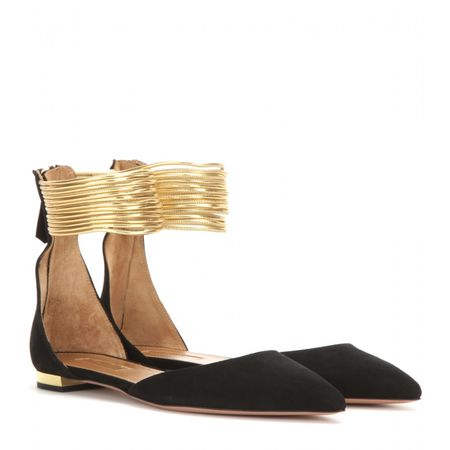 Aquazzura Hello Lover Suede And Metallic Leather Ballerinas black
