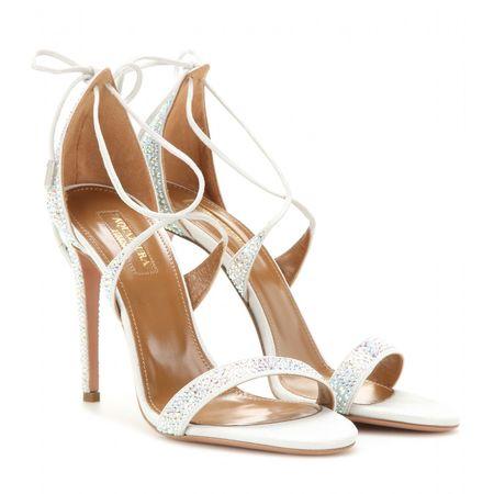 Aquazzura Linda Embellished Sandals white