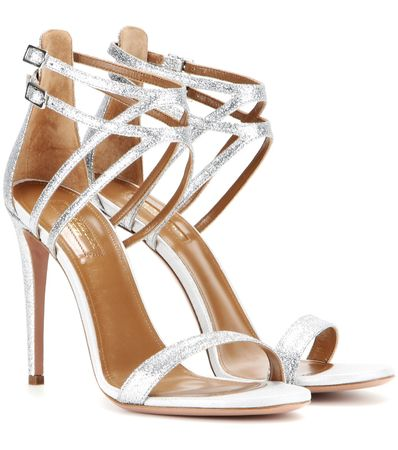 Aquazzura Lucille 105 Glitter Sandals white