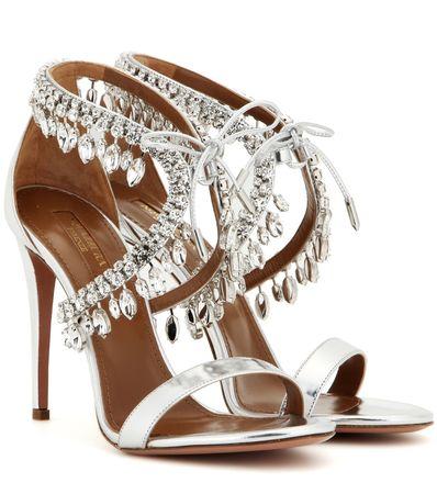 Aquazzura Milla Jewel 105 Embellished Metallic Leather Sandals gray