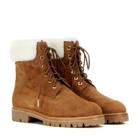 Aquazzura Mytheresa.com Exclusive The Heilbrunner Fur-trimmed Boots brown