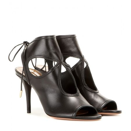 Aquazzura Sexy Thing 85 Leather Sandals gray