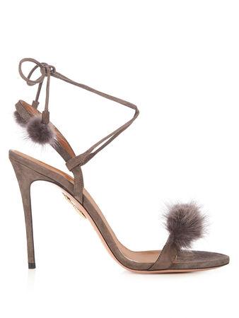 Aquazzura Wild Russian fur and suede sandals
