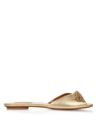 Aquazzura Wild tassel leather slides white