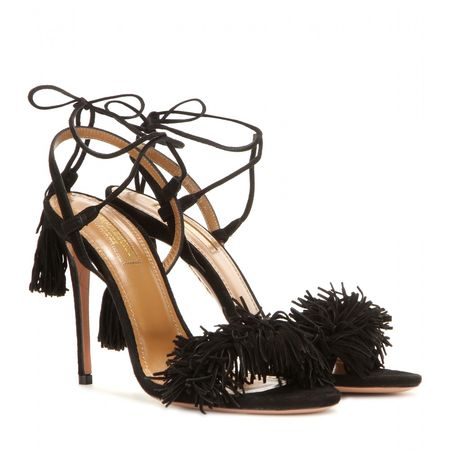 Aquazzura Wild Thing 105 Suede Sandals black