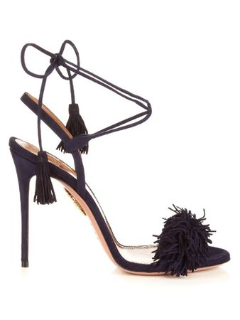 Aquazzura Wild Thing suede fringed sandals black