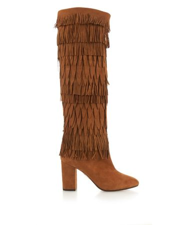 Aquazzura Woodstock layered-fringe suede boots brown