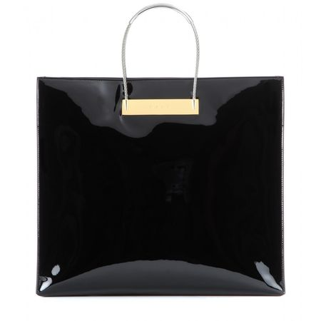 Balenciaga Cable Shopper Medium Patent-leather Bag black