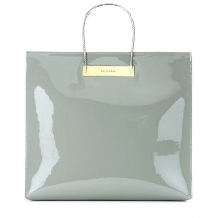 Balenciaga Cable Shopper Medium Patent-leather Bag gray
