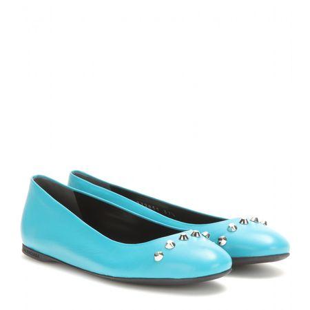 Balenciaga Classic Screw Leather Ballerinas turquoiseblue