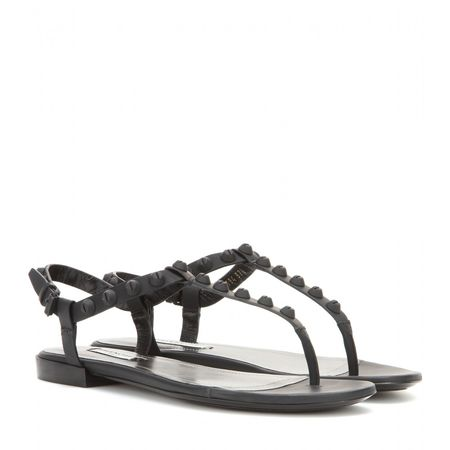 Balenciaga Classic Screw Matte Leather Sandals gray