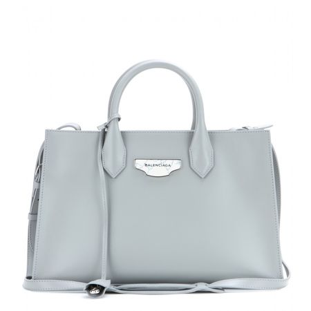 Balenciaga Nude Work Xs Leather Tote gray