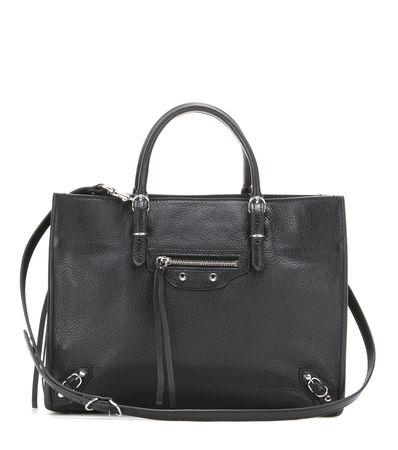 Balenciaga Papier A6 Zip Around Leather Shoulder Bag gray