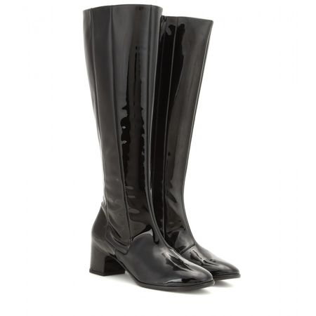 Balenciaga Patent Leather Knee-high Boots gray