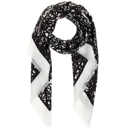 Balenciaga Printed Silk Scarf black