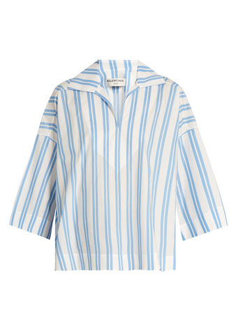 Balenciaga Striped V-neck cotton blouse
