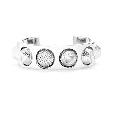 Balenciaga Studded Metallic Cuff white