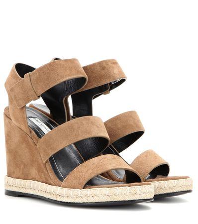 Balenciaga Suede Wedge Sandals gray