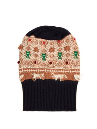 Barrie Twiggy embroidered cashmere beanie hat