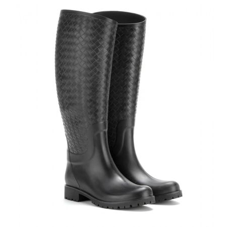 Bottega Veneta Intrecciato-effect Rubber Wellington Boots gray