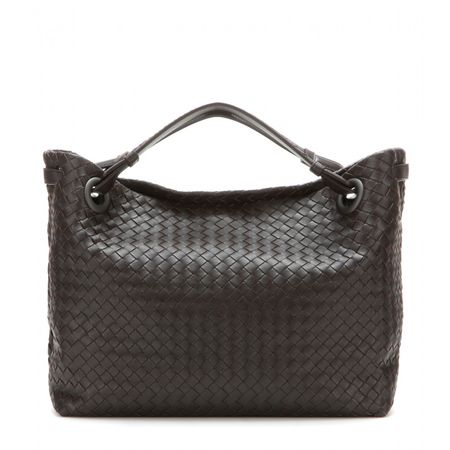 Bottega Veneta Intrecciato Leather Shopper gray