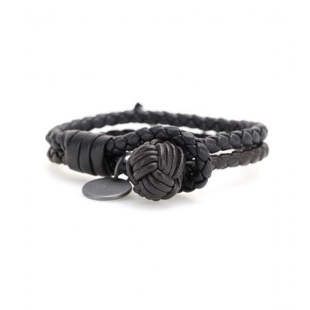 Bottega Veneta Knot Woven Leather Bracelet gray