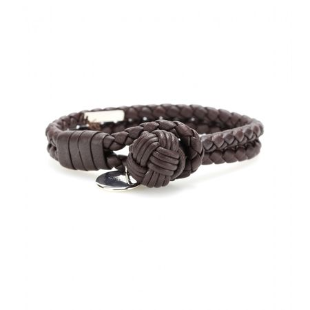Bottega Veneta Knot Woven Leather Bracelet gray