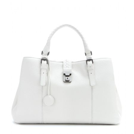Bottega Veneta Roma Leather Tote white