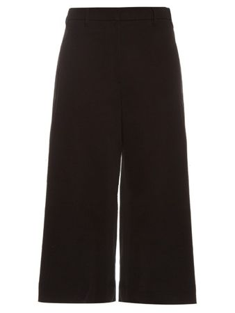 Brunello Cucinelli Wide-leg cropped gabardine trousers black