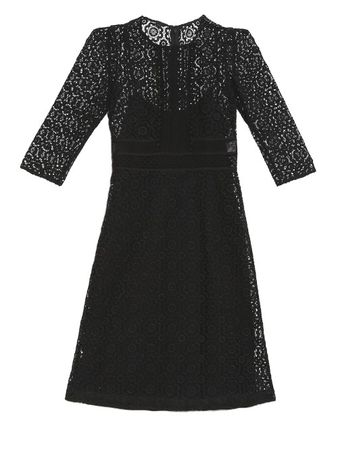 Burberry Prorsum Contrasting-lace shift dress black