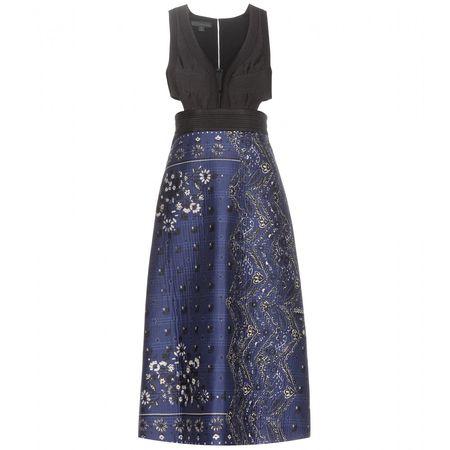 Burberry Prorsum Cut-out Cotton-blend Dress gray