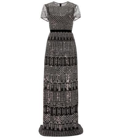 Burberry Prorsum Embellished Cotton Gown gray
