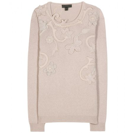 Burberry Prorsum Embroidered Cashmere And Cotton-blend Sweater gray