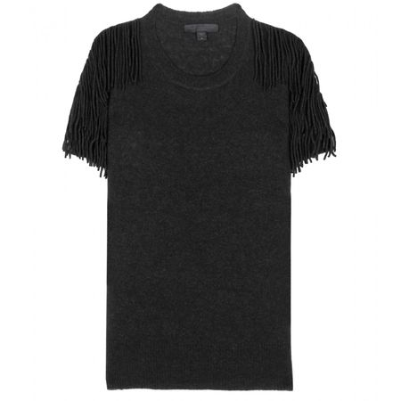 Burberry Prorsum Fringed Cashmere-blend Top black