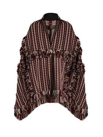 Burberry Prorsum Fringed herringbone-knit cape