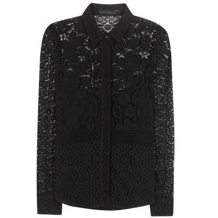 Burberry Prorsum Lace Cotton-blend Blouse black
